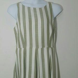 Sharango Dress Midi Green white stripped Keyhole